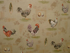 Rustic French Hens Chicken Eggs Vintage Linen Curtain Upholstery Designer Fabric