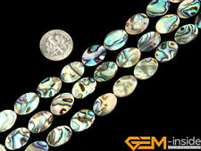 Natural Abalone Shell Gemstone Oval Flat Beads For Jewelry Making Strand 15""