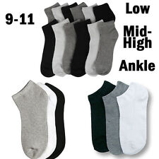 Men Women 9-11 Crew Ankle Low Cut Sports Socks Black White Gray 3 6 12 Pairs New