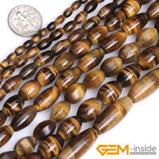 Genuine Olivary Tiger eye Beads Jewelry Making loose gemstone beads strand 15""