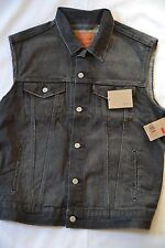 NWT LEVI'S Men's Trucker Denim Jean Vest Jacket Faded Black Rancho - S, M, L, XL