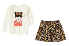 NWT Gymboree MEOW RIGHT Size 7 or 8  Girl Top & Leopard Print Skirt