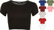 New Womens Plain Ribbed Short Sleeve Scoop Neck Ladies T-Shirt Crop Top 8 - 14
