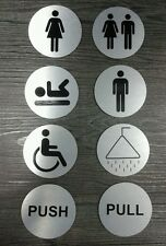ROUND BRUSHED STAINLESS TOILET BATHROOM DOOR SIGN .. SELF ADHESIVE BACK!!!