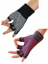 Unisex Yoga Pilates Fingerless Exercise Grip Gloves Anti Slip Black & Pink New