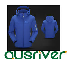 Premium Men Outdoor Climbing Sports Hooded Soft Shell Cycling Jacket Coat Blue