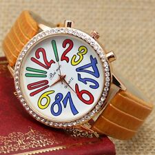 New Big Round Dial Colorful Number Crystal Leather Band Women Girls Wrist Watch