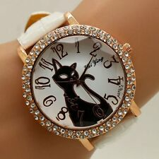 Fashion Crystal Cute Cat Dial Leather Band Strap Quartz Wrist Watch Women's Gift