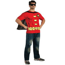 Mens Robin T Shirt Rubies New Official Superhero Stag Fancy Dress Costume Top