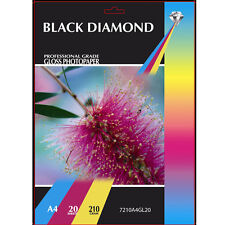 BLACK DIAMOND HEAVY WEIGHT PREMIUM A4 GLOSS COATED PHOTO PAPER 20 SHEETS 210GSM