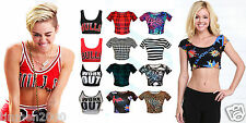 Womens Ladies Short Sleeve Printed Crop Top Belly T Shirt Size S/M M/L 8-14
