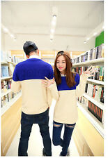 Casual Couple Lover's Clothes Casual Hit Color Knitwear Slim Round Neck Sweater