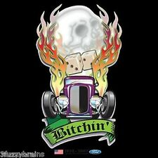 Ford Bitchin Flaming Hot Rod Skull / 1932-2007 Graphic Logo Black T Shirt