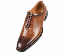 Bolano Mens Exotic Patent Rust Cognac Brown Lace Up Wing Tip Oxford Dress Shoes