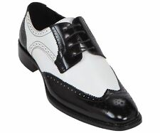 Bolano Men's Exotic Perforated Black White Lace Up Wing Tip Oxford Dress Shoes