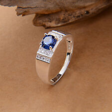 FASHION Lovers Sapphire Blue S925 Sterling Silver Wedding Ring SIZE 6/7/8/9
