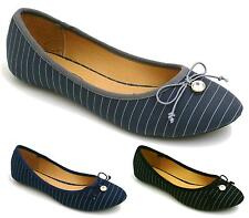 Ladies Flat Slip On Pumps Ballerina Womens Pinstripe Casual Walking Shoes Size 3