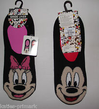 PRIMARK LADIES GIRLS 2 PK MICKEY MINNIE MOUSE DISNEY INVISIBLE SHOE LINERS SOCKS