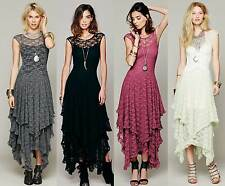 Women Vintage Party Evening Prom Cocktail Maxi Slim Sheer Maxi Lotus Lace Dress