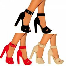 STRAPPY HEEL SANDALS ANKLE STRAP CUFF PLATFORMS PEEP TOES HIGH HEELS SHOES SIZE