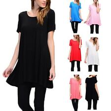 USA Women Casual Scoop Neck Short Sleeve A Line Long Tunic Top Shirt Dress S M L