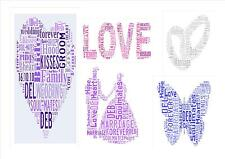 Personalised Wedding Word Art Picture Print  A4 Rings Heart Love Butterfly etc