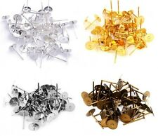100pcs Silver/Golden Metal Flat Earring Earrings Post Stud Jewelry Making 12mm