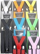 New Polka Dots Colors Mens Womens Clip-on Suspenders Adjustable Braces US SELLER