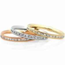 Solid 10k Eternity Ring Yellow Gold W/ Round Cut Cubic Zirconia