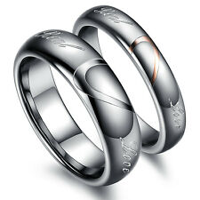 Heart Shape Tungsten Carbide His And Her Real Love Wedding Promise Couple Rings