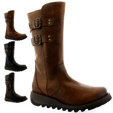 Womens Fly London Suli Riding Biker Winter Snow Leather Mid Calf Boot US 5-10