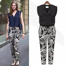 Women Vogue Collarless Lapel Buttons Floral Jumpsuit Overalls Trousers New Chic