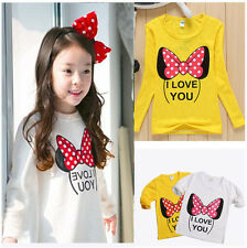 Cute Minnie Baby Girls Kids Clothes Long Sleeve Cotton Tops T-shirts Size 2-8Y T