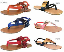 New Women T - Strap Gladiator Thong Strappy Flat Flip Flops Sandals Shoes
