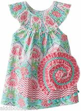 Mud Pie Girls Easter Spring Summer Colorful Smocked Snail Dress + Free HB
