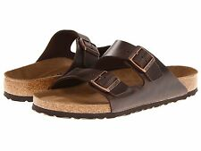 Women's Birkenstock Sandals Soft Footbed Arizona Amalfi Brown Leather Narr