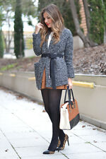 ZARA WOOL SHORT KNIT COAT WITH BELT DARK GREY  XS,S  Ref. 8082/735