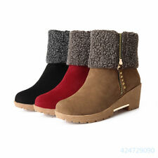 New Womens Fashion Skid Proof Med Heel Shoes Zipper Mid Calf Boots AU Size Y1116