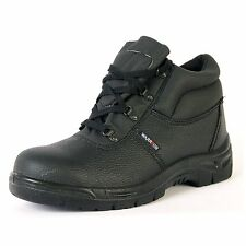 Warrior Safety Work Chukka Boots Shoes Black Leather Steel Toe Cap Mid Sole New
