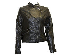 NEW WOMENS BLACK FAUX LEATHER LOOK QUILTED FITTED PVC BIKER LADIES ZIP  JACKET