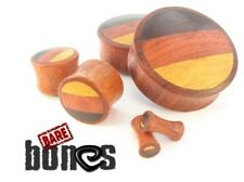 "Bare Bones Pair Blood Wood Plugs with Wood Inlays 2G to 1 7/8"" [Select Your Size"