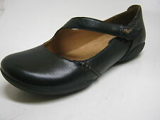 Ladies Clarks 'Felicia Plum' Black Leather Shoes With Strap- E Fitting!