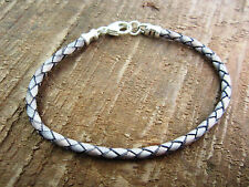 YOLLA Braided Bolo Leather Bracelet - Sterling Silver Clasp/Ends - Grey 3mm