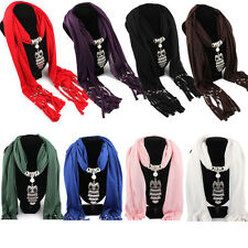 New Women Necklace Scarves Owl Pendant Jewelry Tassels Scarf Shawl Wrap Salable