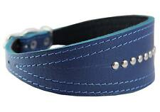 "Real Leather Tapered Extra Wide Greyhound Whippet Dog Collar 13""-16"" neck"