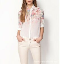Women Floral Print Button Down Long Sleeve Chiffon Shirt Top Blouse Size L ab