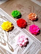Resin Flower Cabochons 15mm Assorted Colors Peony Flower Cabochons Flat Back