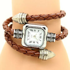 Vintage Weave WRAP Around Arrow Leather Bracelet Bangle Women Quartz Wrist Watch