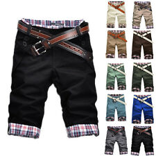 New Fashion Korean Stylish Mens Short Pants Lattice Flanging Cropped Trousers