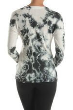 T-Party Tea Stain Dye V Neck Pull Over Long Sleeve Top #ITB36534